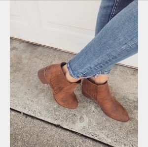 Saddle Up// camel distressed PU bootie